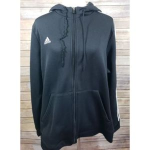 Adidas Black White 3 Stripe Track Hoodie Jacket
